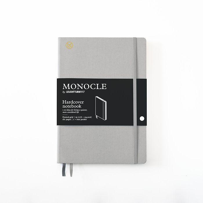Notizbuch B5 Monocle, Hardcover, 192 nummerierte Seiten, Light Grey, dotted