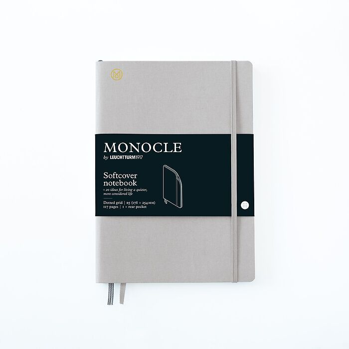 Notizbuch B5 Monocle, Softcover, 128 nummerierte Seiten, Light Grey, dotted
