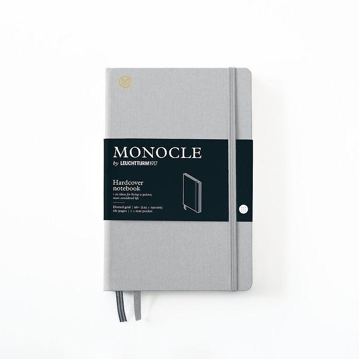 Notizbuch B6+ Monocle, Hardcover, 192 nummerierte Seiten, Light Grey, dotted