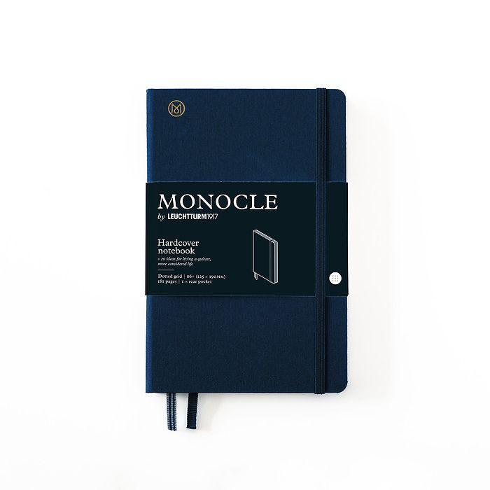 Notizbuch B6+ Monocle, Hardcover, 192 nummerierte Seiten, Navy, dotted