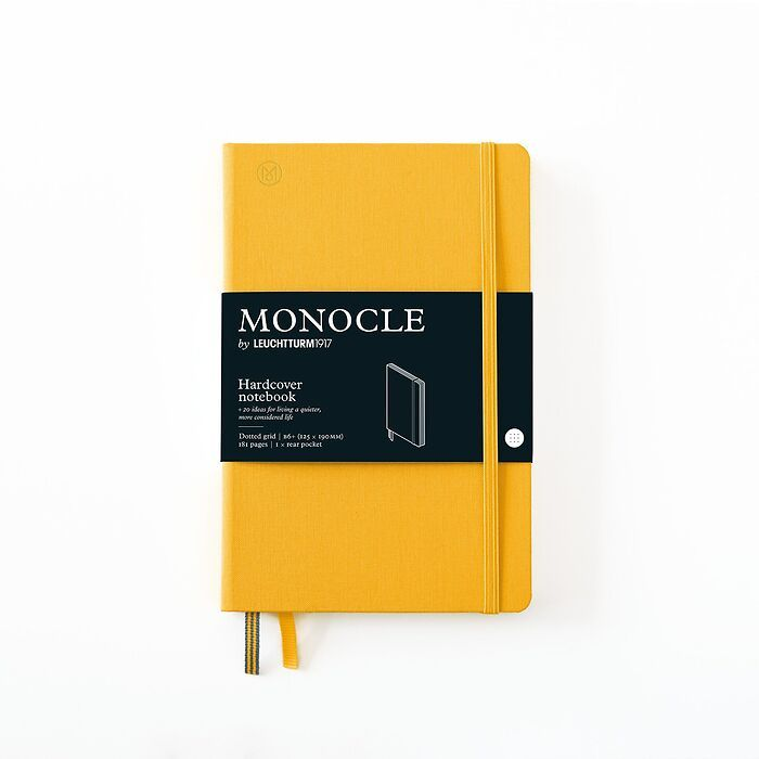 Notizbuch B6+ Monocle, Hardcover, 192 nummerierte Seiten, Yellow, dotted