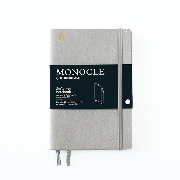Notizbuch B6+ Monocle, Softcover, 128 nummerierte Seiten, Light Grey, dotted