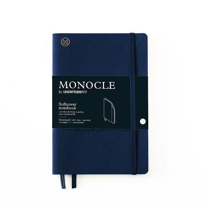 Notizbuch B6+ Monocle, Softcover, 128 nummerierte Seiten, Navy, dotted