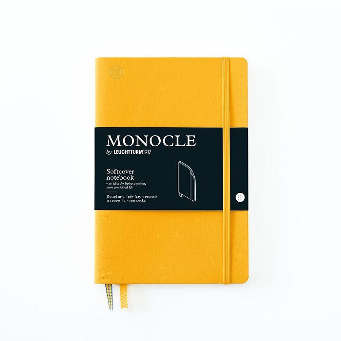 Notizbuch B6+ Monocle, Softcover, 128 nummerierte Seiten, Yellow, dotted
