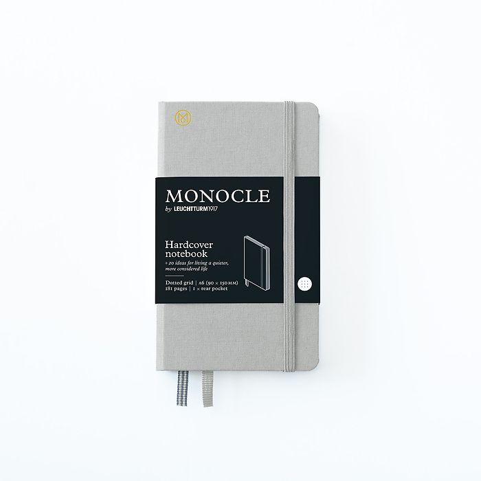 Notizbuch A6 Monocle, Hardcover, 192 nummerierte Seiten, Light Grey, dotted