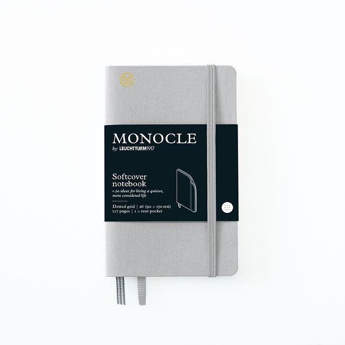 Notizbuch A6 Monocle, Softcover, 128 nummerierte Seiten, Light Grey, dotted