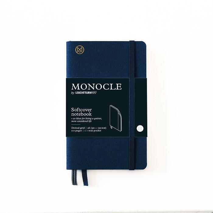 Notizbuch A6 Monocle, Softcover, 128 nummerierte Seiten, Navy, dotted