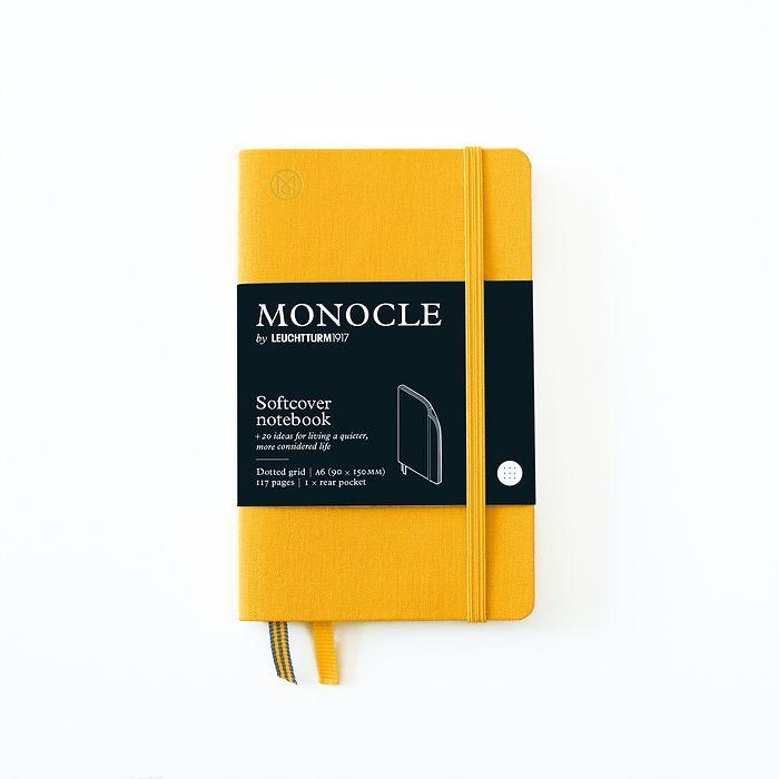 Notizbuch A6 Monocle, Softcover, 128 nummerierte Seiten, Yellow, dotted