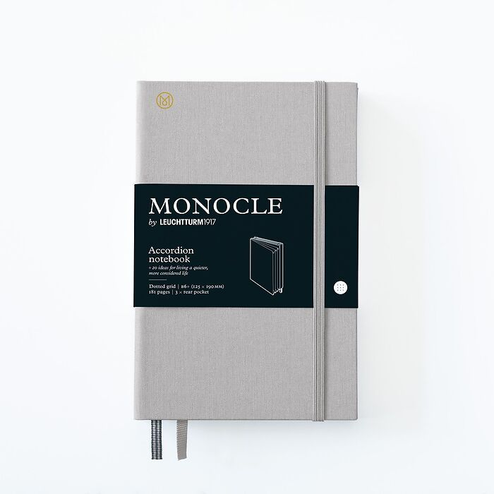 Monocle Wallet B6+, Hardcover, 192 nummerierte Seiten, Light Grey, dotted