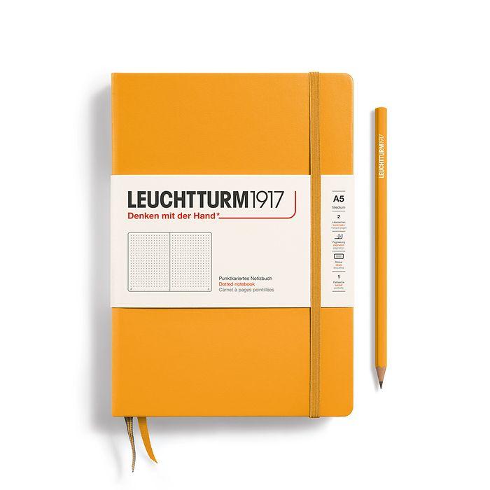 Notizbuch Medium (A5), Hardcover, 251 nummerierte Seiten, Rising Sun, dotted