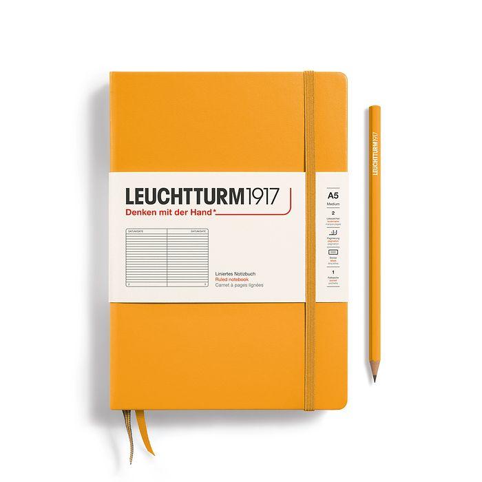 Notizbuch Medium (A5), Hardcover, 251 nummerierte Seiten, Rising Sun, liniert