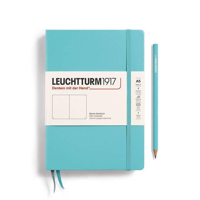 Notizbuch Medium (A5), Hardcover, 251 nummerierte Seiten, Aquamarine, blanko