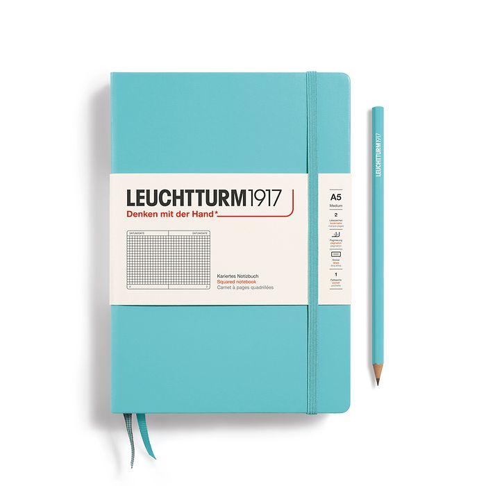 Notizbuch Medium (A5), Hardcover, 251 nummerierte Seiten, Aquamarine, kariert