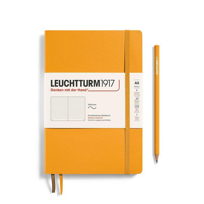 Notizbuch Medium (A5), Softcover, 123 nummerierte Seiten, Rising Sun, dotted