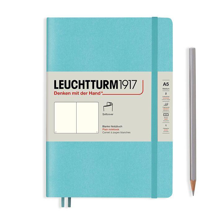 Notizbuch Medium (A5), Softcover, 123 nummerierte Seiten, Aquamarine, blanko