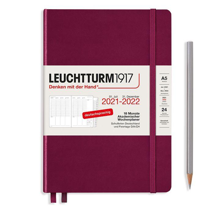 Akademischer Wochenplaner Medium (A5) 2022, mit Extraheft, 18 Monate, Port Red, Deutsch
