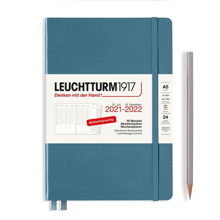 Akademischer Wochenplaner Medium (A5) 2022, mit Extraheft, 18 Monate, Stone Blue, Deutsch