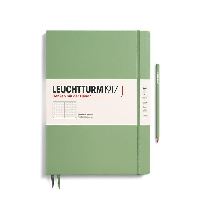 Notizbuch Master Slim (A4+), Hardcover, 123 nummerierte Seiten, Salbei, Dotted