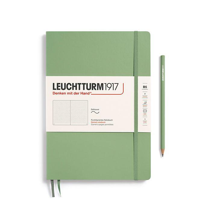 Notizbuch Composition (B5), Softcover, 123 nummerierte Seiten, Salbei, Dotted