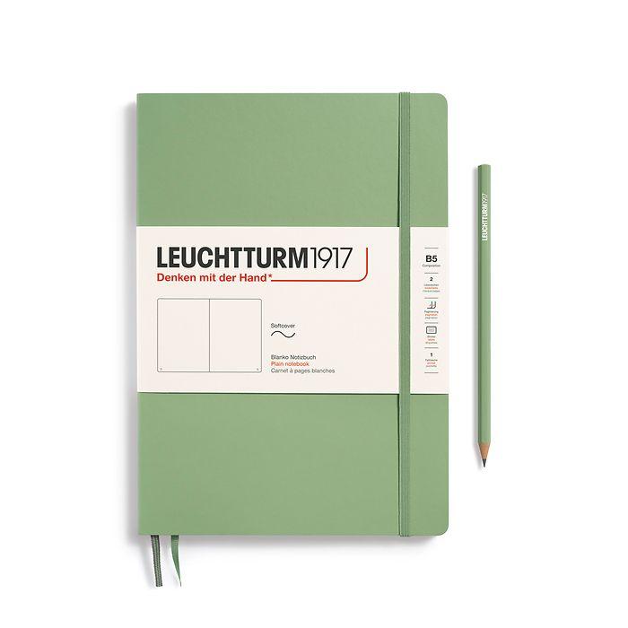 Notizbuch Composition (B5), Softcover, 123 nummerierte Seiten, Salbei, Blanko