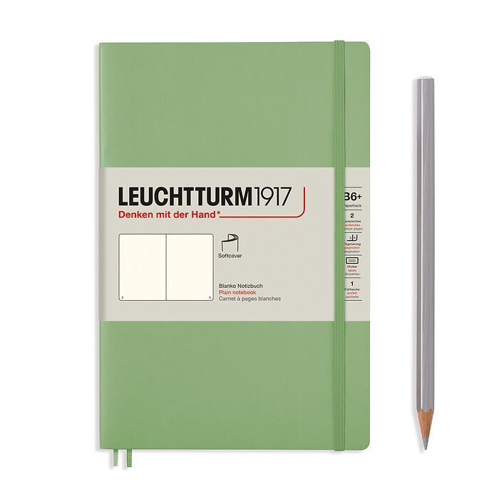 Notizbuch Paperback (B6+), Softcover, 123 nummerierte Seiten, Salbei, Blanko
