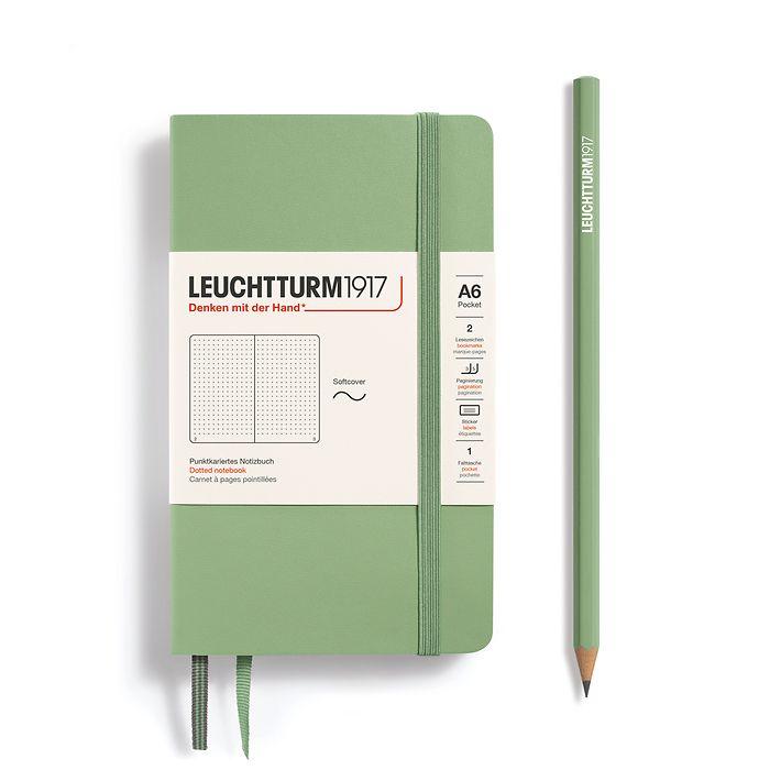 Notizbuch Pocket (A6), Softcover, 123 nummerierte Seiten, Salbei, Dotted
