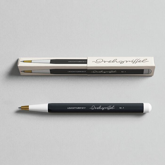 Drehgriffel Nr. 1, Schwarz - Gelstift mit schwarzer Tinte