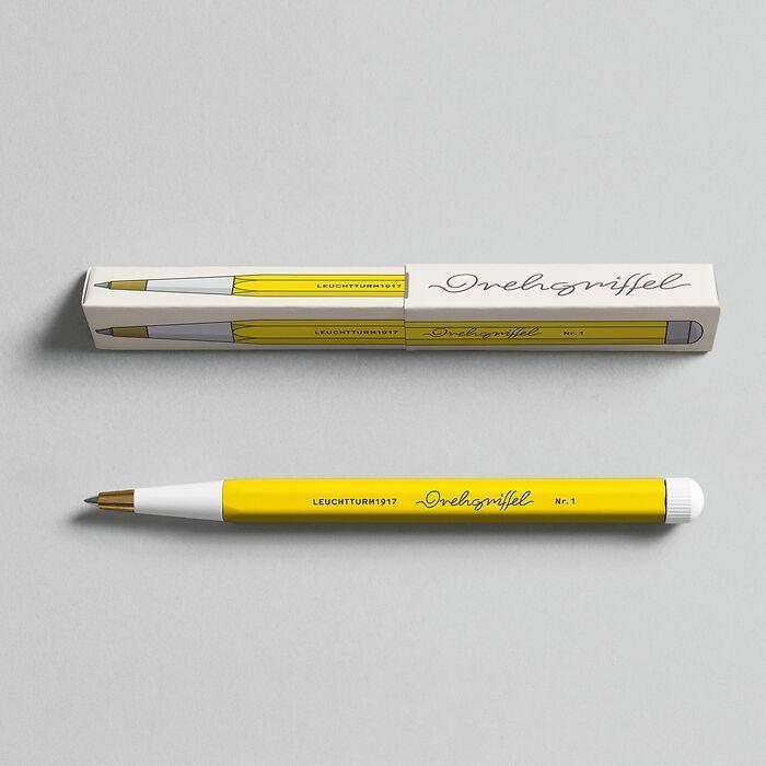 Drehgriffel Nr. 1, Zitrone - Gelstift mit schwarzer Tinte