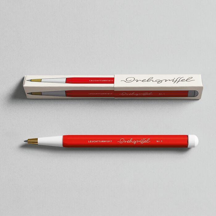 Drehgriffel Nr. 1, Rot - Gelstift mit schwarzer Tinte