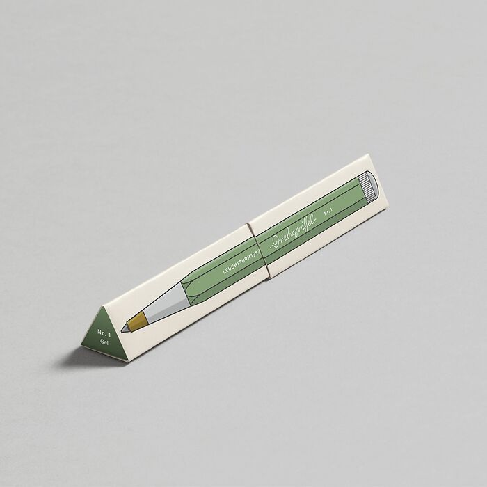 Drehgriffel Nr. 1, Salbei - Gelstift mit schwarzer Tinte