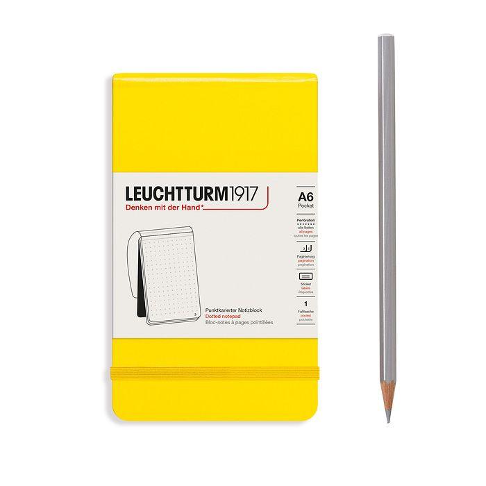 Notizblock Pocket (A6), Hardcover, 94 nummerierte Seiten, Zitrone, Dotted