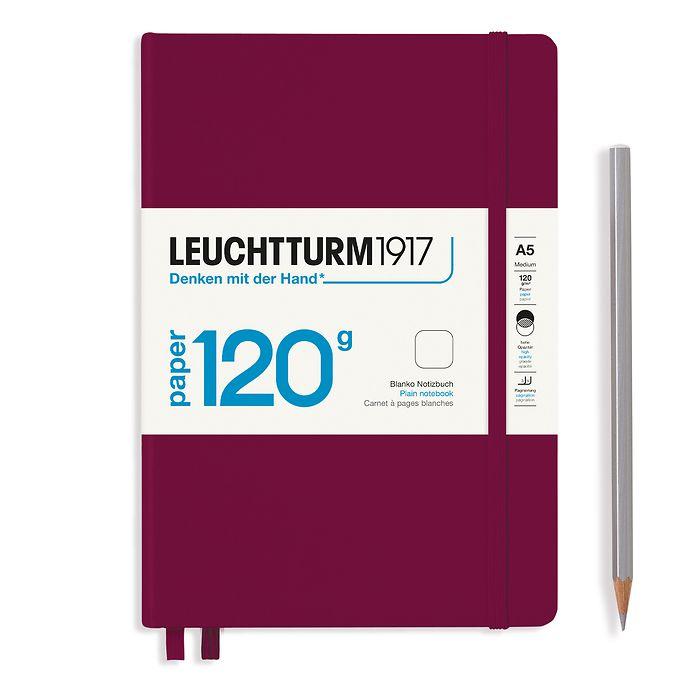 Notizbuch Medium (A5), EDITION 120, Hardcover, 203 nummeriete Seiten, Port Red, blanko