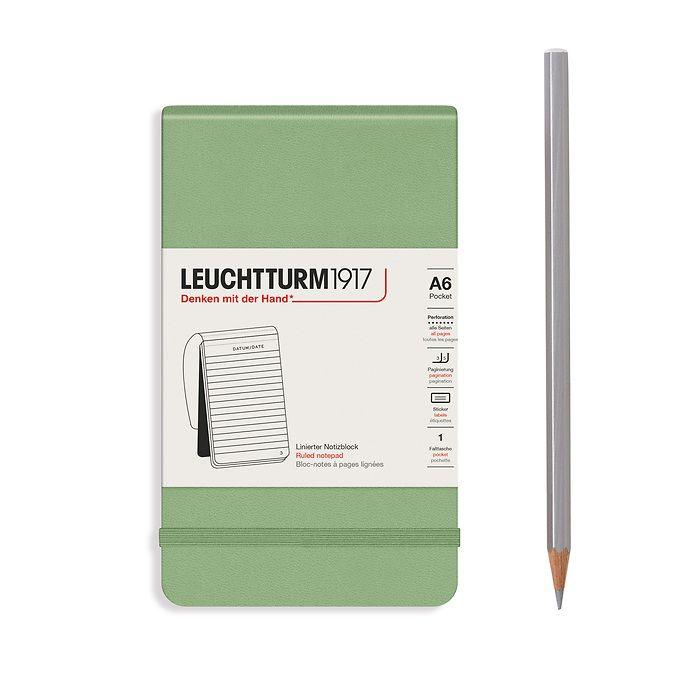 Notizblock Pocket (A6), Hardcover, 94 nummerierte Seiten, Salbei, Liniert
