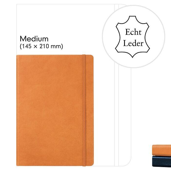 Notizbuch Medium (A5), Echtleder, 249 nummerierte Seiten