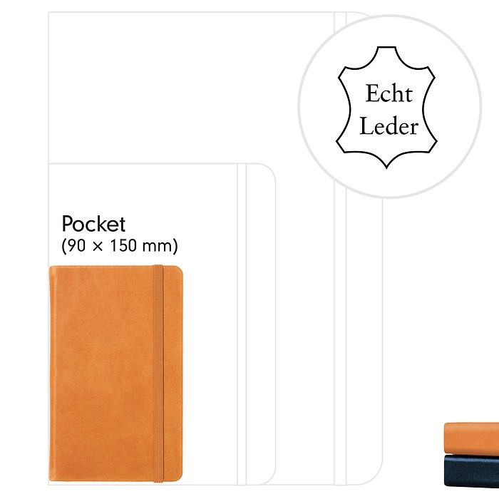 Notizbuch Pocket (A6), Echtleder, 187 nummerierte Seiten