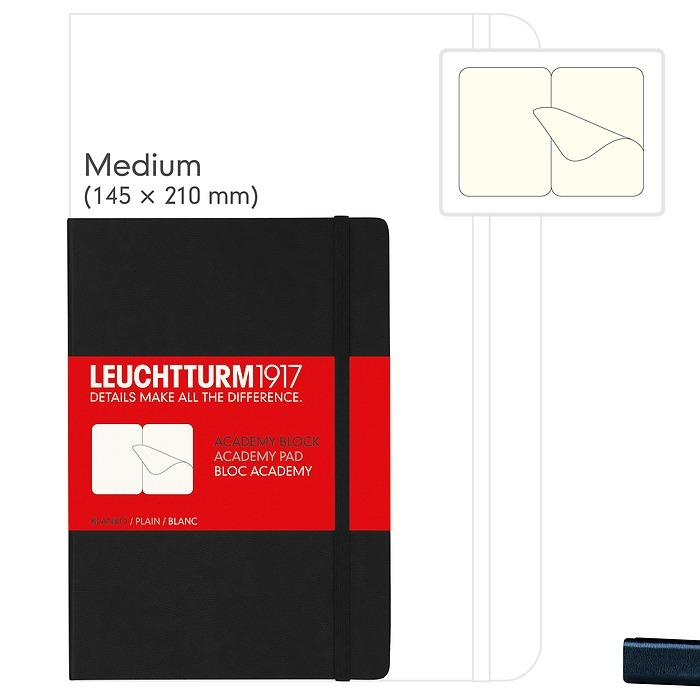 Academy Block Medium (A5), Hardcover, 60 Blatt, Schwarz, perforiert